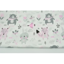 Cotton 100% pink-gray animals on the meadow