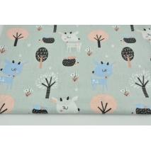 Bawełna 100% niebieskie sarenki w lesie na szarym tle
