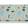 Cotton 100% blue deers in the forest on a gray background