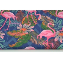 Cotton 100% pink flamingos on a navy blue background