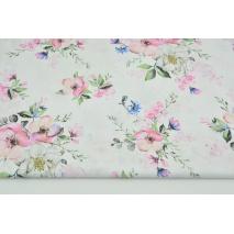 Bawełna 100% kwiaty jabłoni na białym tle