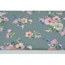 Cotton 100% apple flowers on a dark gray background