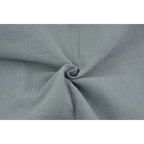 Double gauze 100% cotton plain medium gray