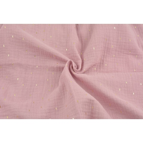 Double gauze 100% cotton golden marks on a heather pink background