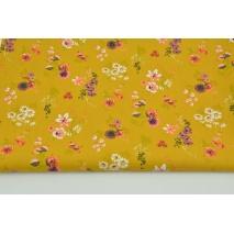 Bawełna 100% koralowo-fioletowe kwiaty na musztardowym tle, popelina