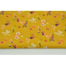 Cotton 100% coral-purple flowers on a mustard background, poplin