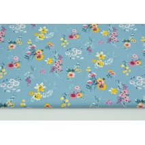 Cotton 100% coral-yellow flowers on a blue background, poplin