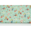 Cotton 100% coral flowers on a mint background, poplin