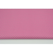 Cotton 100% mini dots on a blueberry pink background, poplin