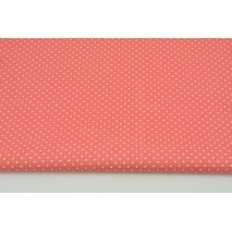 Cotton 100% mini dots on a coral background, poplin