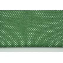 Cotton 100% mini dots on a dark green background, poplin