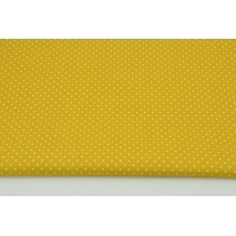 Cotton 100% mini dots on a mustard background, poplin