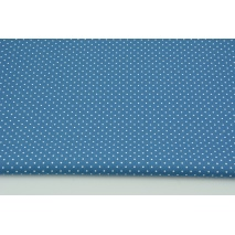 Cotton 100% mini dots on a dark blue background, poplin