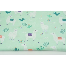 Cotton 100% llamas on a mint background