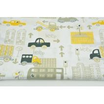 Bawełna 100% beżowo-żółte auta w mieście