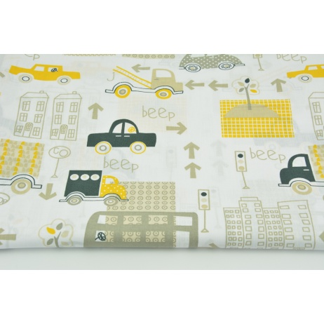 Cotton 100% beige-yellow cars in the city
