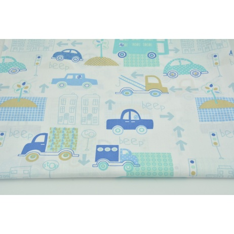 Cotton 100% turquoise-blue cars in the city