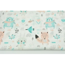 Cotton 100% salmon-turquoise animals on the meadow