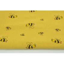 Bawełna 100% uprana, pszczółki na c. musztardowym tle II jakość