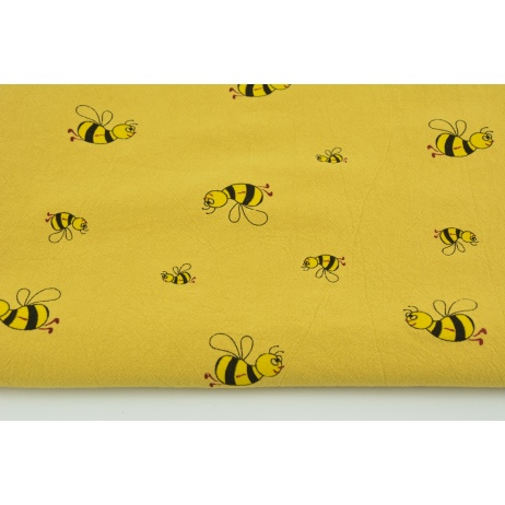 100% washed cotton, bees on dark mustard background II quality