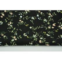 Wiskoza 100% czarna w polne kwiatki