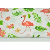Cotton 100% coral flamingos, green leaves on a white background