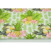 Bawełna 100% tukany i ananasy na białym tle