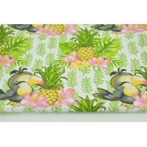 Cotton 100% toucans and pineapples on a white background