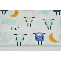 Bawełna 100% śpiące owieczki na białym tle