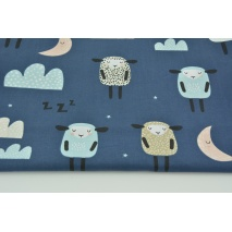 Cotton 100% sleepy sheeps on a navy background