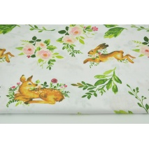 Cotton 100% deers, hares on a white background