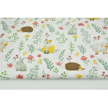 Cotton 100% forest animals with twigs on a white background
