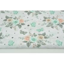 Bawełna 100% łososiowo-miętowe róże, motyle na białym tle