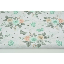 Cotton 100% salmon-mint roses, butterflies on a white background
