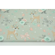 Cotton 100% deers, bows on a gray background