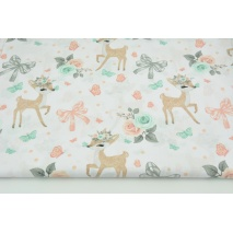 Cotton 100% deers, bows on a white background