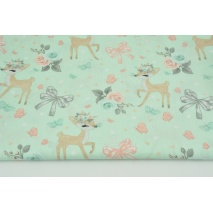 Cotton 100% deers, bows on a mint background