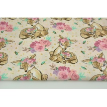 Cotton 100% beige deers, flowers on a pink background