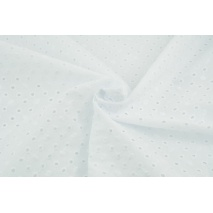 Cotton 100% embroidered openwork - dots, plain white