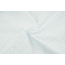 Cotton 100% embroidered openwork - diamonds, plain white
