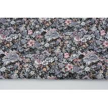 Bawełna 100% szaro-fioletowe kwiatki na czarnym tle, popelina