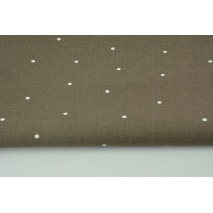 Cotton 100% irregular dots white on a chocolate background
