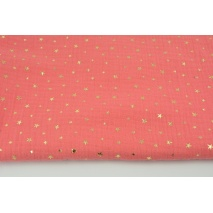 Double gauze 100% cotton gold stars on a coral background V