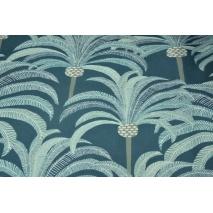 Tkanina dekoracyjna, palmy na ciemnoniebieskim tle 200g/m2