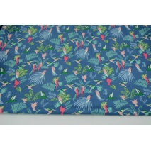 Knitwear viscose single, paradise garden on a blue background