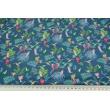 Knitwear viscose single, paradise garden on a blue background
