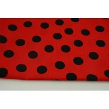 Bawełna 100% kropki czarne 2,5cm na czerwonym tle
