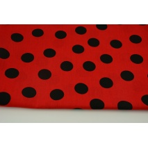 Cotton 100% black dots 25mm on a red background
