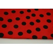 Cotton 100% black dots on a red background