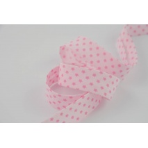 Cotton bias binding pink stars 18mm